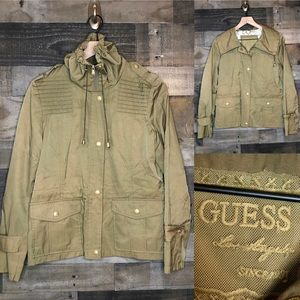 Guess Olive Green Military Moto Style Jacket
